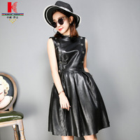 Sexy Genuine Leather Dresses Black Short Cocktail Party Black Sleeveless Leather Dress Corset Unique Autumn Dresses High Quality