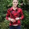 Marca de Roupas de Outono 2016 T-shirt Camuflar das Mulheres Camisas Pólo Magros Fit Feminino Camisetas Casual Tops T Plus Size 3XL JA2289