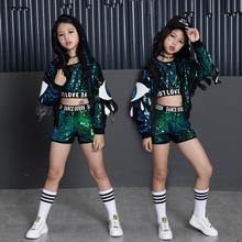 Tammy Ada Girls Green Sequin Set Holidays Costumes Kids Jacket Crop Vest Top Shorts 3pcs Children Girls Stage Dance Wear Clothes
