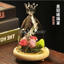 Creative Festival Friend Gift Beautiful Glass Dome Vase with wooden base Home Decoration Romantic Wedding Decoration Glass Cover