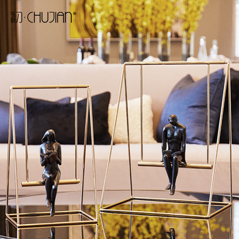 Creative resin metal Boy girls Swing statue home decor crafts room decoration objects office study Abstract character figurines