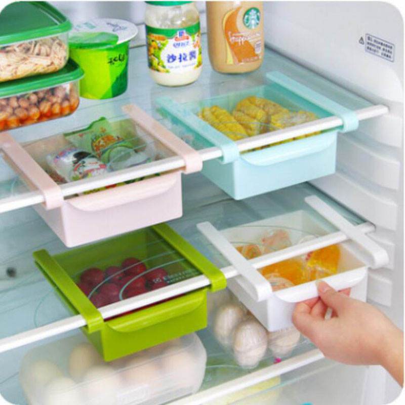 Mini Plastic Slide Drawer Fridge Storage Rack Kitchen Freezer Space Saver Organizer Bathroom Shelf Kitchen Rack Tools