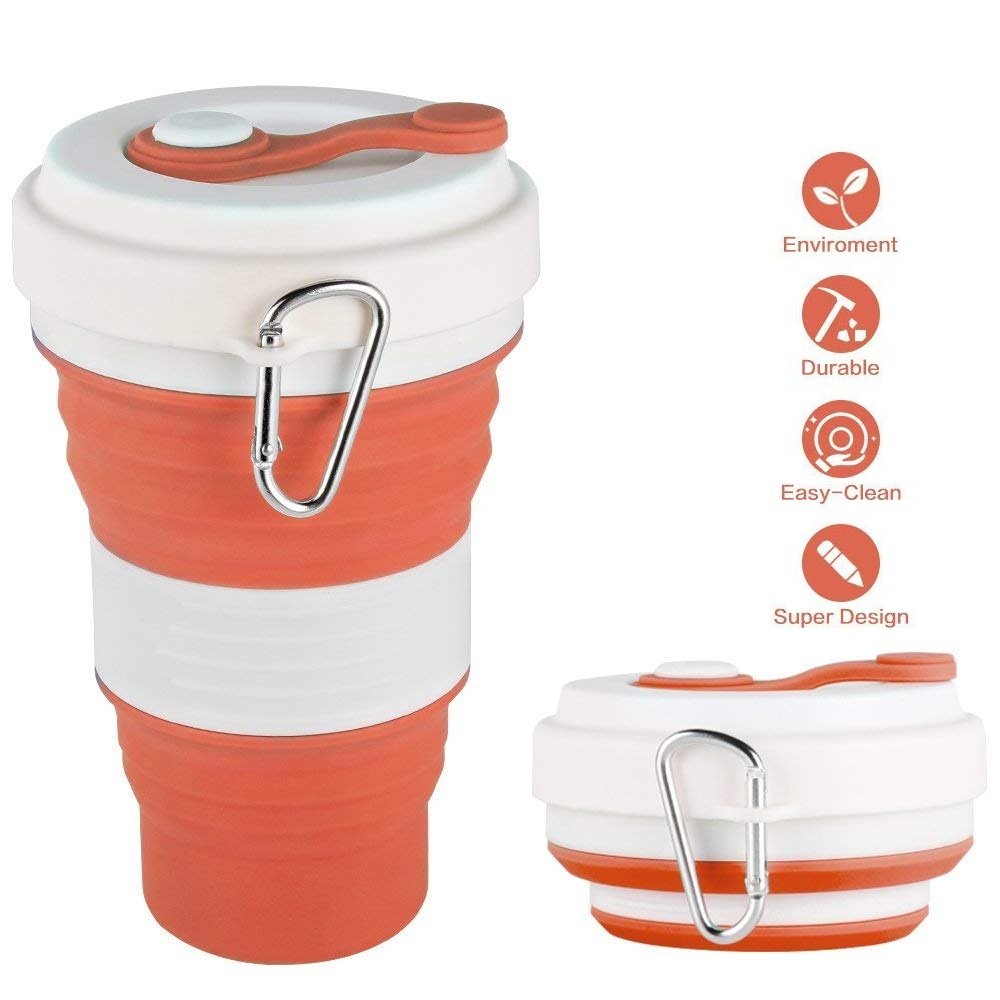 Collapsible Coffee Cup 550ml Silicone Portable Folding Travel Cup Mug with Leak-Proof Lid for Milk Tea Hot Water Drinks Camping