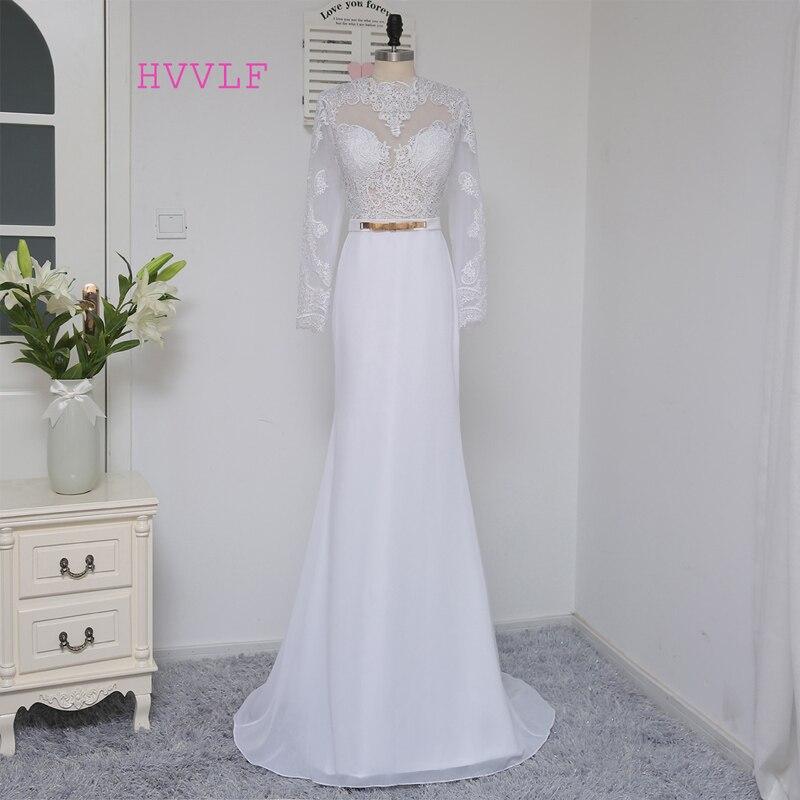 2019 Vestidos De Novia Casamento Robe De apvalks ar augstu apkakli garām piedurknēm Mežģīņu kāzu kleitas Kāzu kleita Kāzu kleitas