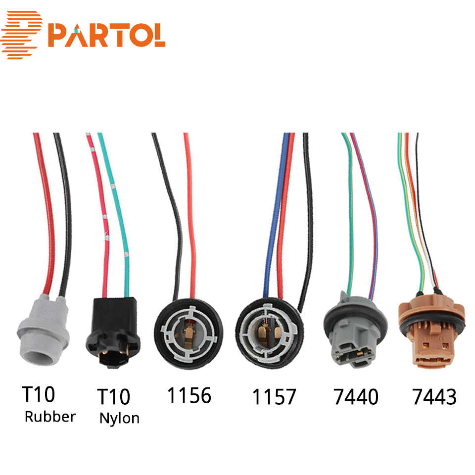Partol 2pcs T10 1156 1157 7440 7443 Car Led Lamp Bulbs Sockets Adapters Extension Connector Auto Plug Bulb Holder Rubber Nylon Cables Adapters Sockets Aliexpress