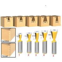 5pcs/set High Quality Industry Standard 1/2 shank Dovetail Router Bit Cutter wood working