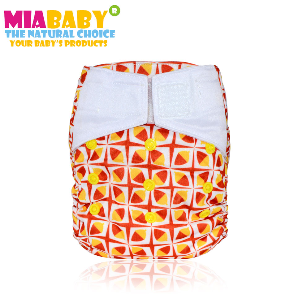 Miababy OS Night AIO cloth diaper for baby, bamboo sewn inside insert,hook and loop version,S M L adjustable
