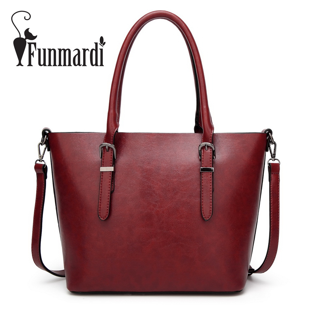 FUNMARDI Luxury Oil wax leather bags Fashion PU leather handbag simple Brand design shoulder bag Famous totes bags WLHB1586 miwind 2017 new women bag cow oil wax leather handbags letter v shoulder bags female luxury casual totes simple fashion portable