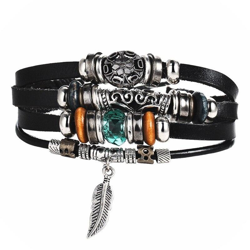 Punk Design Blue Crystal Charm Bracelets for Woman Men New Fashion Wristband Female Leaves Leather Bracelet Boho Jewelry