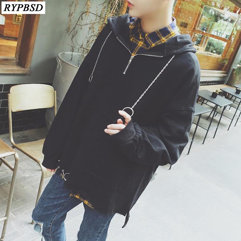 2019 Spring Fashion Korean Metal Ring Plain Black Hoodies Men Pullover Zipper Design Oversized Hip Hop Hoodie Vetement M-5XL hoodie