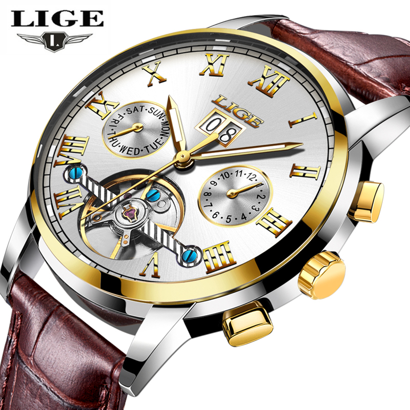 New LIGE Luxury Brand Automatic Machinery Watches font b Men b font Leather Waterproof Business Watch