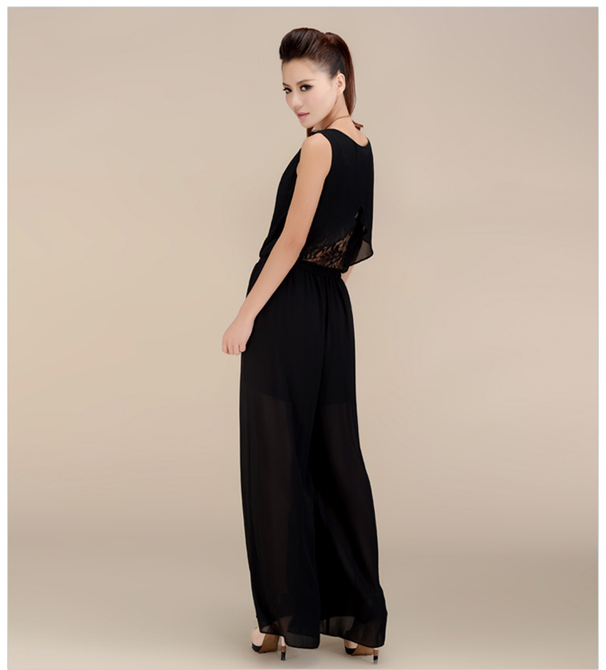 Chiffon Lace Jumpsuits mono mujer largo casual body suits for women combinaison pantalon femme elegante Wide leg pants 12