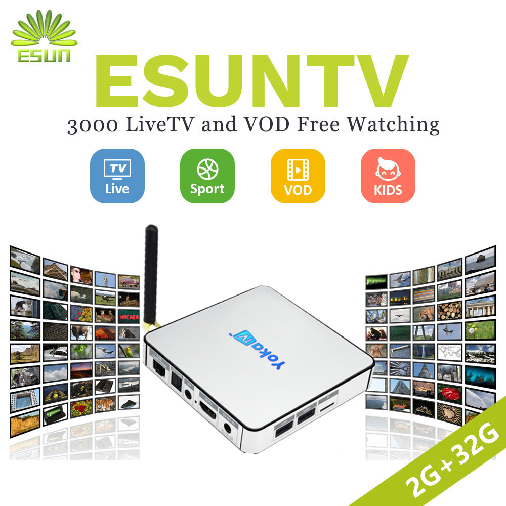 1 Year ESUNTV KB2 Android TV Box 2GB/32GB Amlogic S912 Arabic Spain French Germany Netherland Portugal Italian Adult Europe IPTV yokatv kb2 amlogic s912 tv box rii i8 white