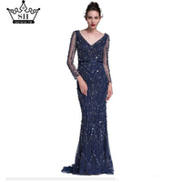 Dubai Robe De Soiree Luxury Long Sleeve Evening Dresses 2017 Real Photo Crystal Sequins Navy Blue Mermaid Party Gown Serene Hill