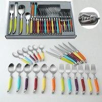 24 יחידות צרפת סטייק כלי שולחן ארוחת ערב מזלג + כפית + פלדה, סט כלי אוכל המערבי צבעוני, משלוח חינם