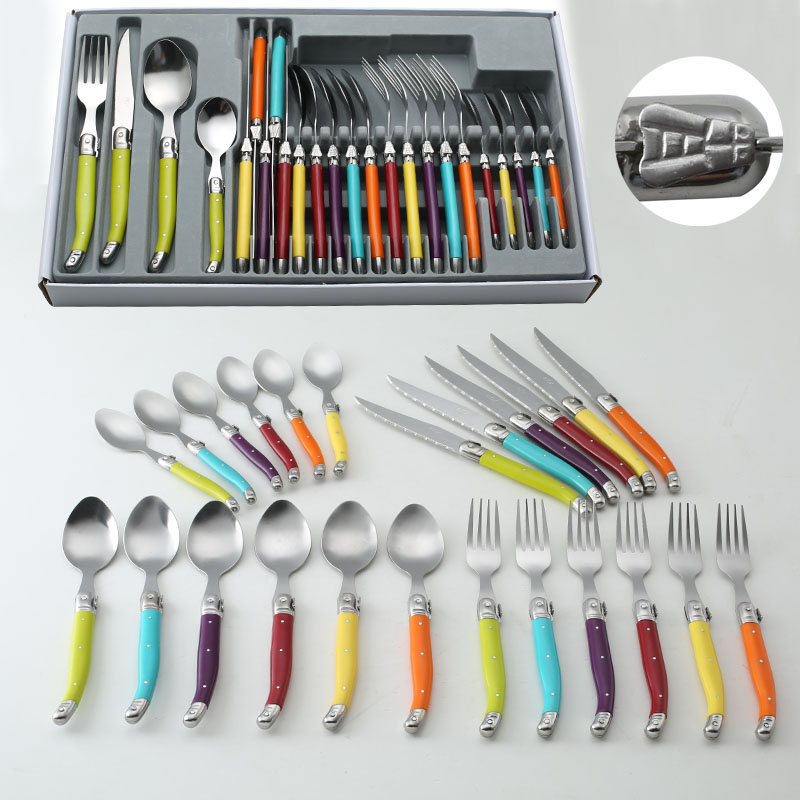 24pcs france tableware steel dinner fork spoon steak. Black Bedroom Furniture Sets. Home Design Ideas