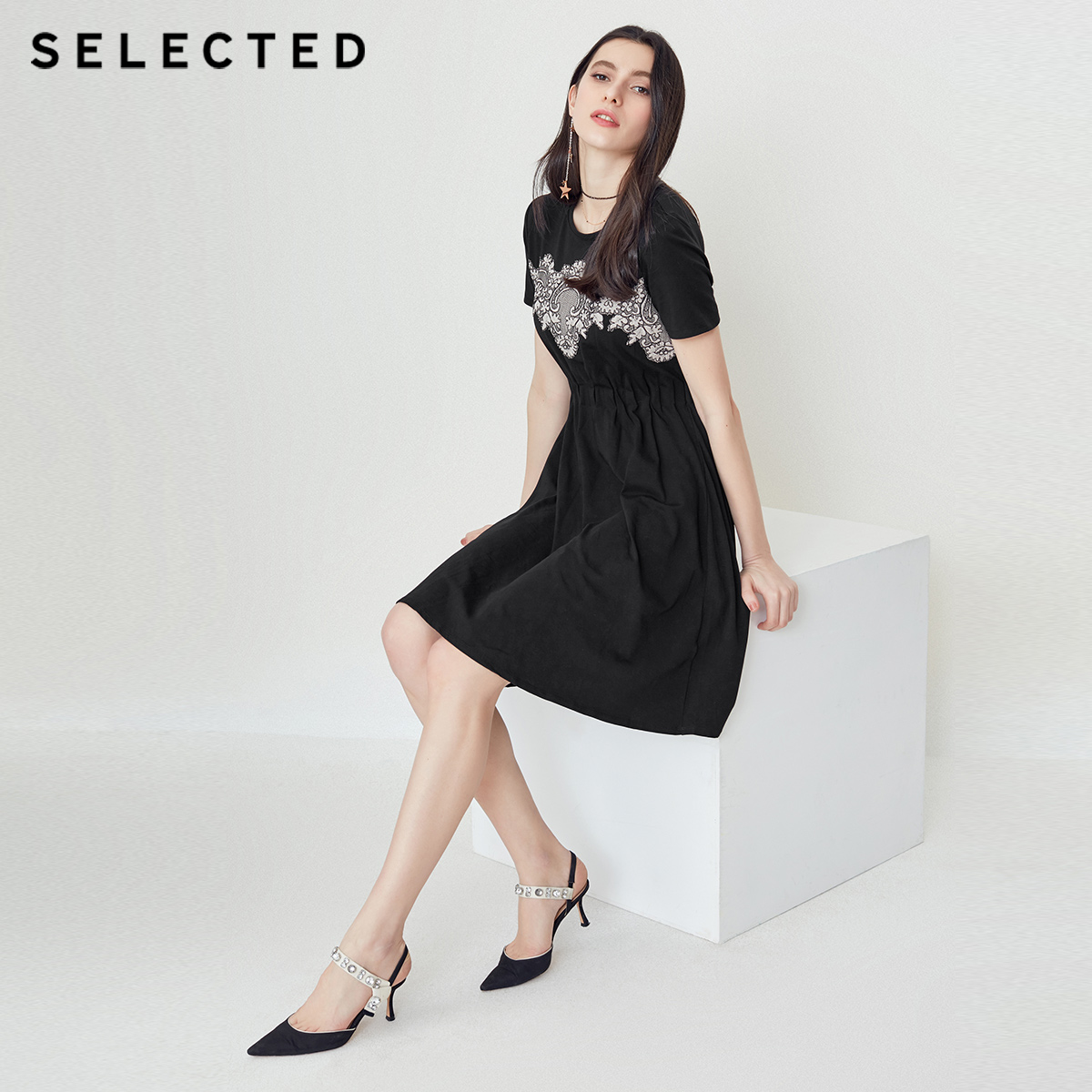 SELECTED women s lace short sleeve round neck dress S 418261502