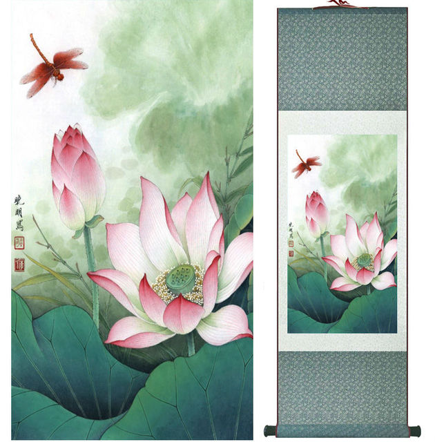 Lotus Flower Painting Water Lily Painting Chinese Wash Painting Home