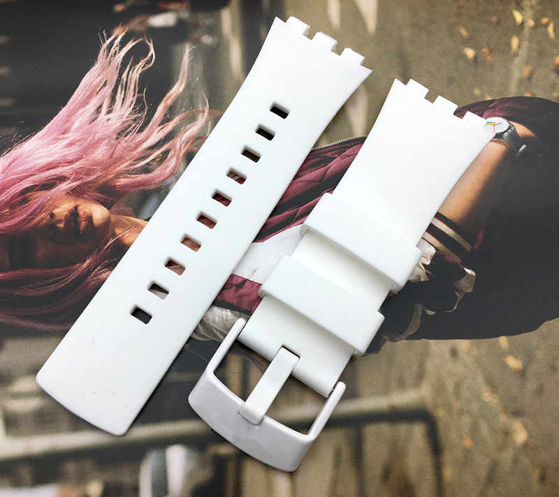 Top grade quality watchband white watch strap band For Swatch for Touch series Silicone 22mm stainless buckle logo on SURW100