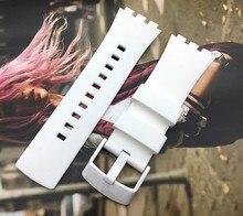 Correa de reloj de calidad superior, correa de reloj blanca para Swatch de la serie Touch, silicona, 22mm, hebilla inoxidable, logo en SURW100
