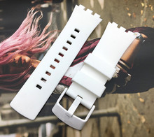 Najwyższa jakość watchband biały pasek do zegarka dla Swatch dla serii dotykowej silikonowa klamra ze stali nierdzewnej 22mm logo na SURW100