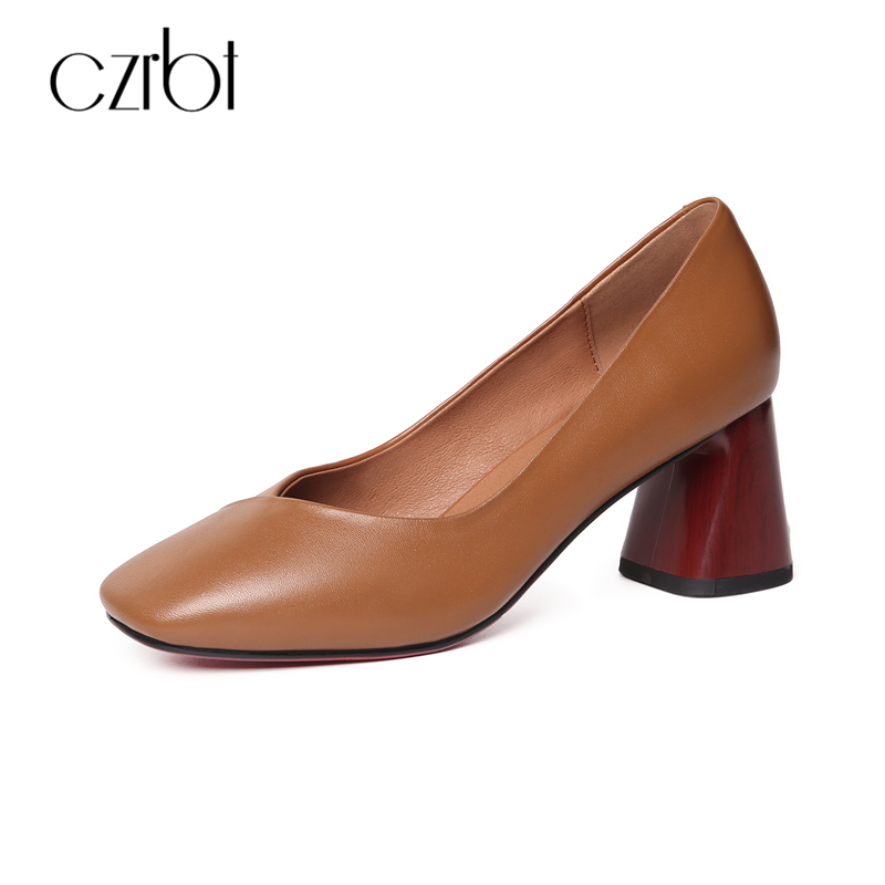 CZRBT Spring Autumn Women Shoes Genuine Cow Leather High Heels Woman Pumps Square Toe Shallow Mouth Hoof Heel High Heel Shoes siketu 2017 free shipping spring and autumn women shoes fashion sex high heels shoes red wedding shoes pumps g107