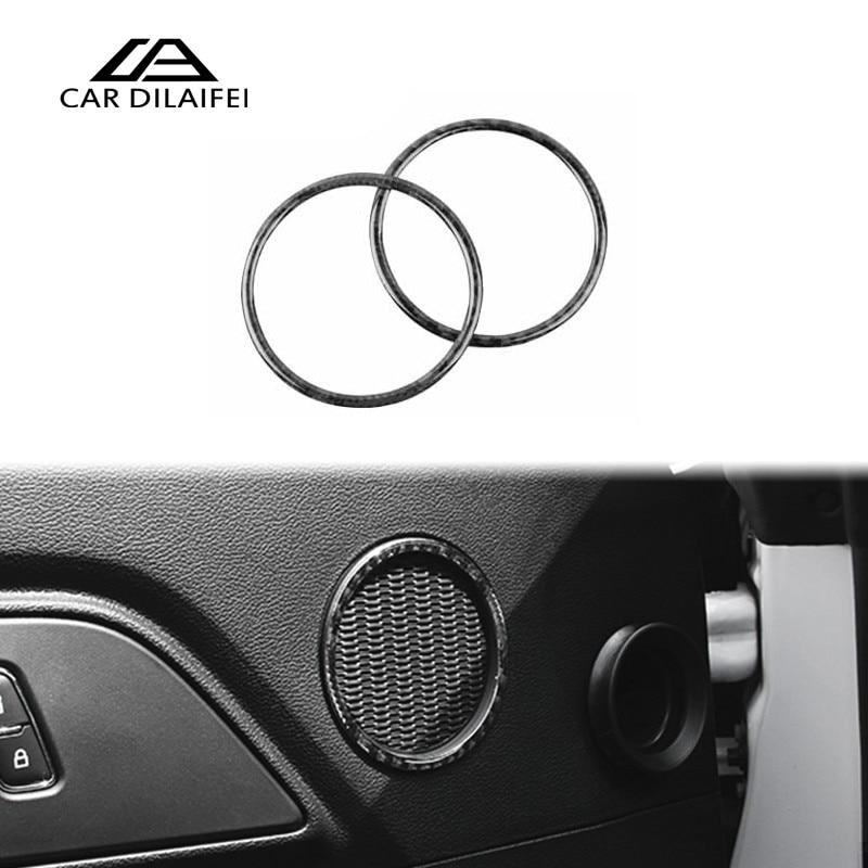 Auto Interior Accessories For Ford Mustang Carbon Fiber Car Door Audio Speaker Strip Cover Ring Sticker 2015 2016 2017
