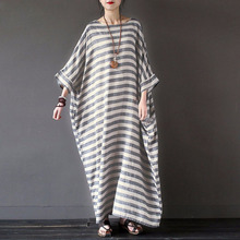 Women Elegant Striped Print Dress 2018 Spring Oversized Women O Neck Batwing Sleeve Maxi Long Dresses Vestidos Big Size Baggy