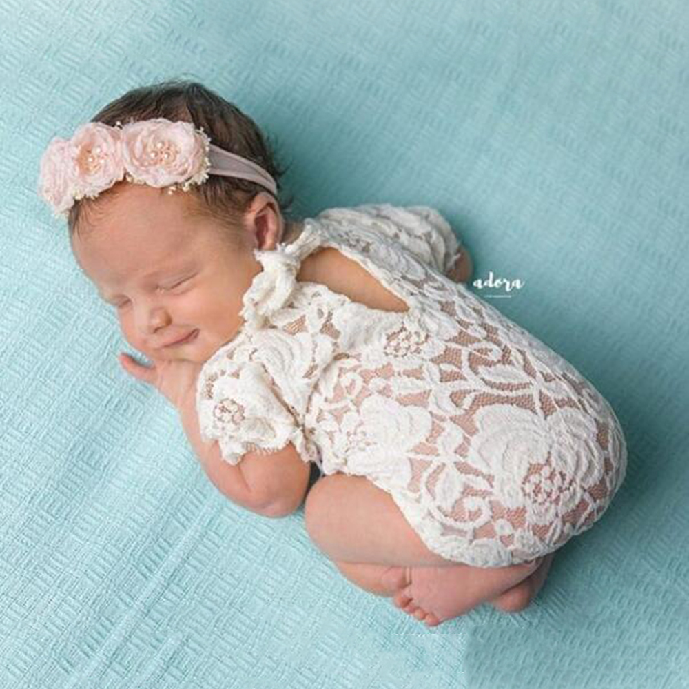 New Newborn Baby Photo Prop Girl Romper with Rose Bow Pink picture