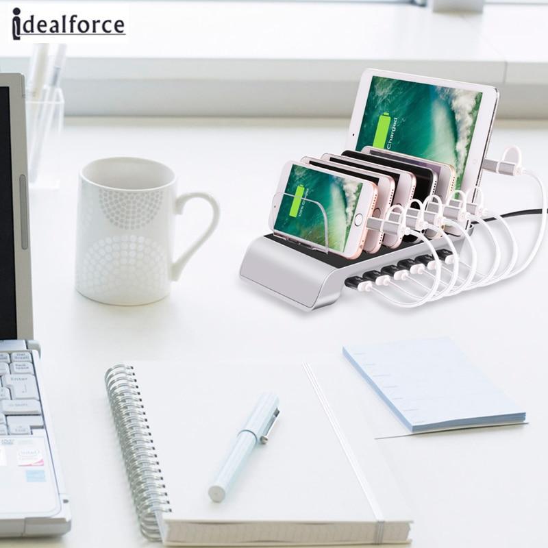 Fast 6-Port USB <font><b>Charging</b></font> Station Universal Desktop Tablet&#038;<font><b>Smartphone</b></font> Multi for Samsung Note 8 S8 Plus / X 6 7 8 Plus