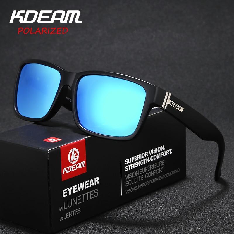 Rectangle Frame Polarized Men Sunglasses Sport Women Zonnebril KDEAM Reflective Coating HD Lens 9 Colors UV400 With Case KD505