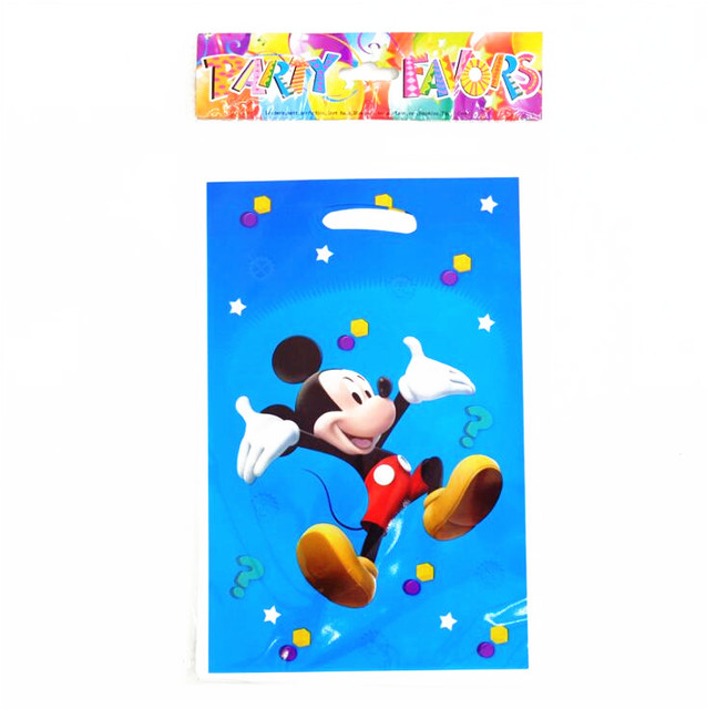 10pcs Mickey Mouse Party Supplies Gift Bag Baby Happy Birthday Decoration