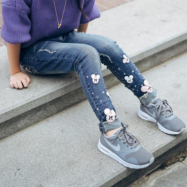 2017 além de veludo espessamento calça jeans inverno meninas Dos Desenhos Animados da criança calças skinny calças compridas
