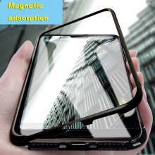 Magnetic Adsorption Metal Phone Case For Huawei Honor Mate 20 10 Lite P20 P30 Pro 8X Nova 3 4 Case Magnet Tempered Glass Cover(China)