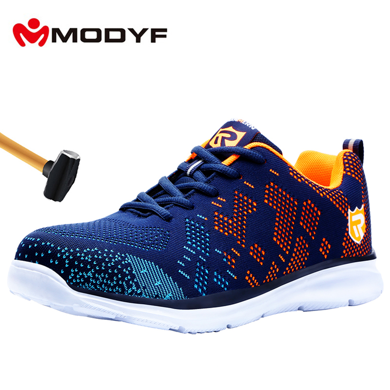 MODYF Lightweight Breathable Men Safety Shoes Steel Toe Work Shoes For Men Anti smashing Construction Sneaker