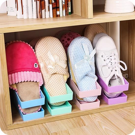 Japanese Simple Plastic Shoe Shoe Storage Box Creative Finishing Shoebox  Space Saving Vertical Shoe Rack