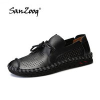 Plus Size 38~50 Summer Breathable Men Leather Casual Shoes Lace Up Soft Leather Loafers Men Moccasin 5 Colors