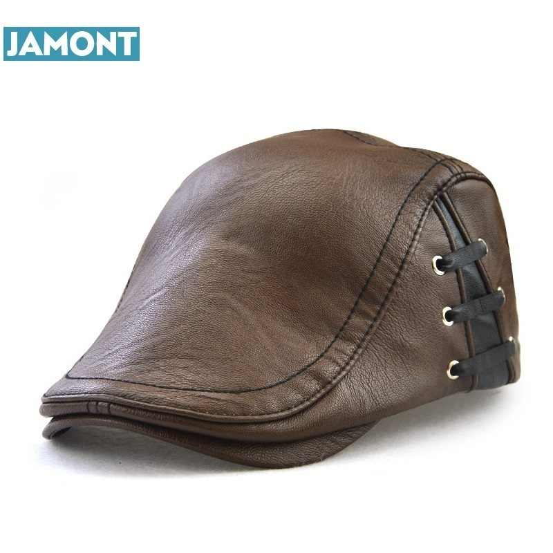 JAMONT 2017 Original Design Men's Hat Winter Visors Cap PU Leather Hats Beret Fashion Bandage Gorras Men Caps Winter Casquette