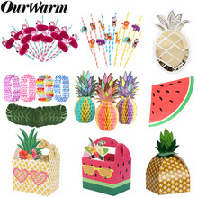 OurWarm Summer Fruit Party Supplies Pineapple Watermelon Party Favors Animals Straws Hawaiian Luau Birthday Party Gifts Boxes(China)