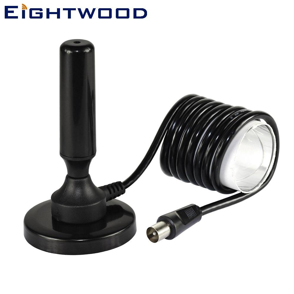 Eightwood с высоким коэффициентом усиления Цифровой Freeview 20 dBi Магнитная Базовая антенна с ТВ штекером разъем для DVB-T T2 ТВ HD ТВ