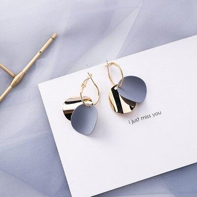 AOMU coréen bleu géométrique acrylique irrégulière cercle creux carré balancent des boucles d'oreilles pour les femmes en métal bosse fête plage bijoux 19