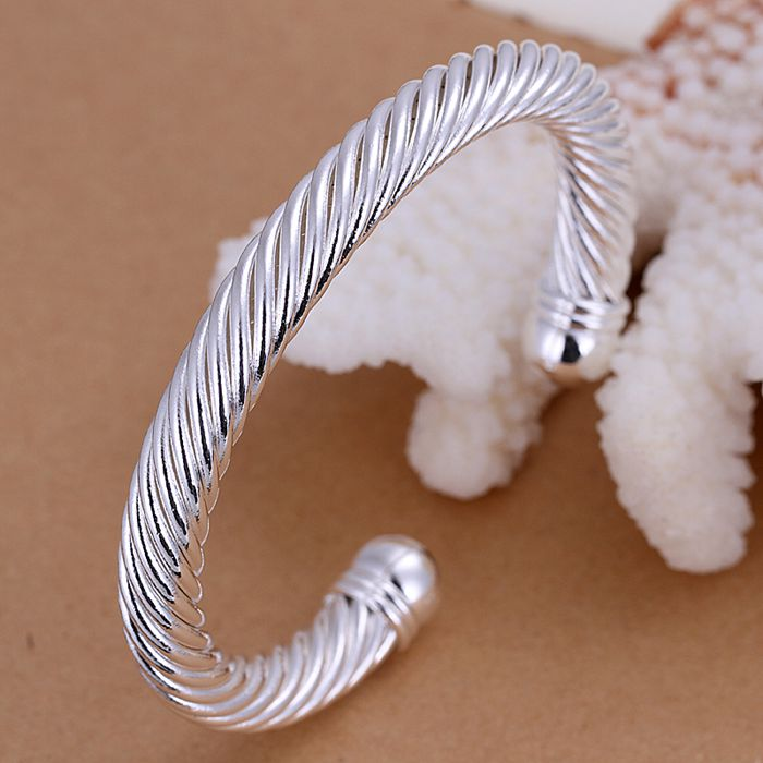 Unisex Men Womens 925 Sterling Silver Plated Cuff Bangle Bracelet