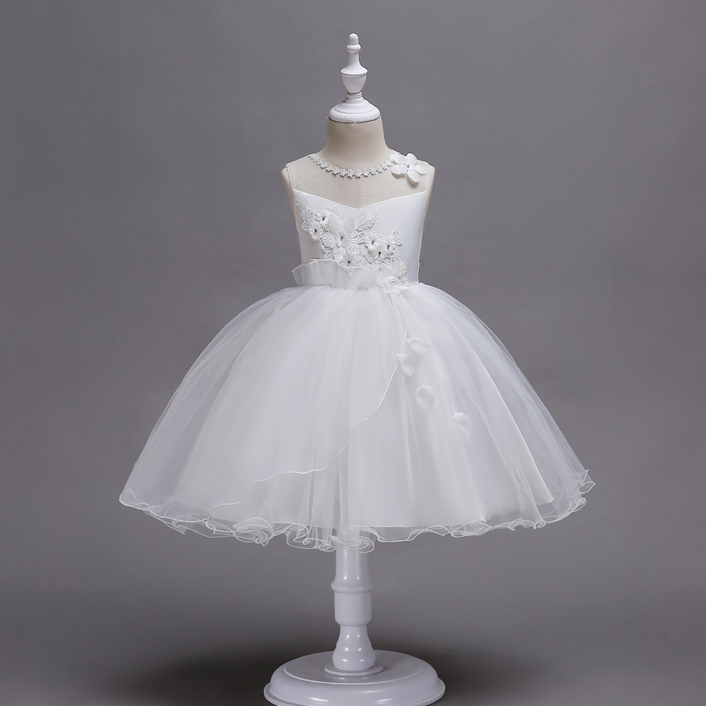 CAILENI Children Ceremony Princess Dress White Lace Mesh Frock For 3-14 Years Wedding Party Ball Gown Kids Dresses Girls