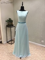 Vestido Festa New Cheap 2018 Scoop Sleeveless Floor Length A Line Chiffon Prom Dresses Party Gowns