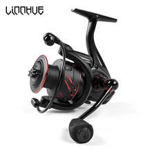 LINNHUE New Fishing Reel Full Metal Spool Spinning Reel 5.0:1 Max Drag 10Kg Power Smooth Sea Carp Fishing Reel Black