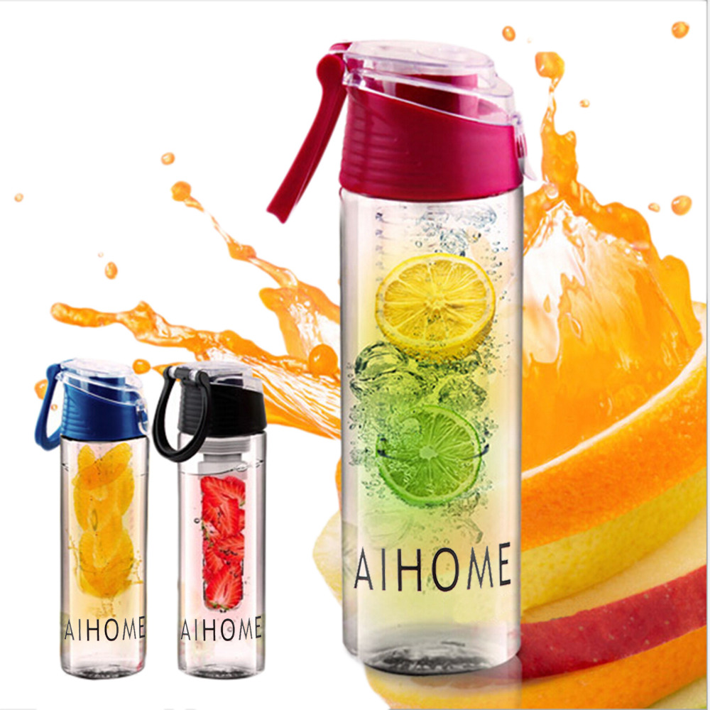 AIHOME 800ml Cycling Sport Fruit Infusing Infuser Water Lemon Bottles Juice Bicycle Health Eco-Friendly BPA Detox Flip Lid