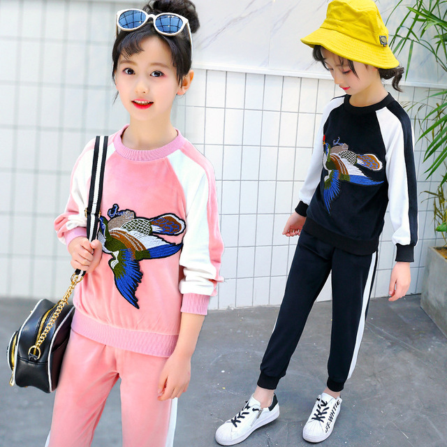 92f41b7302a8 Teens Girl Clothes Suit 2018 Spring Animal Embroidery Sweater + ...