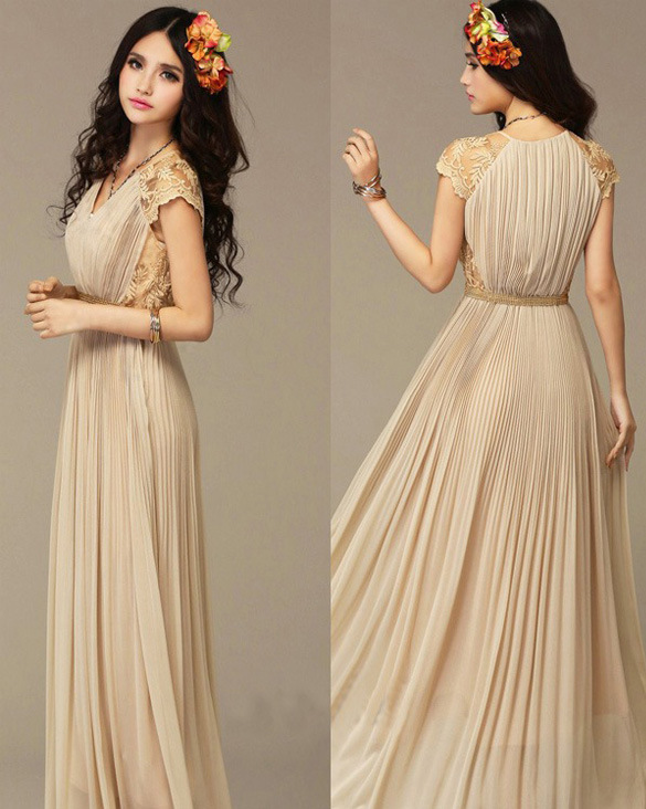 Vintage Chiffon Maxi Dress