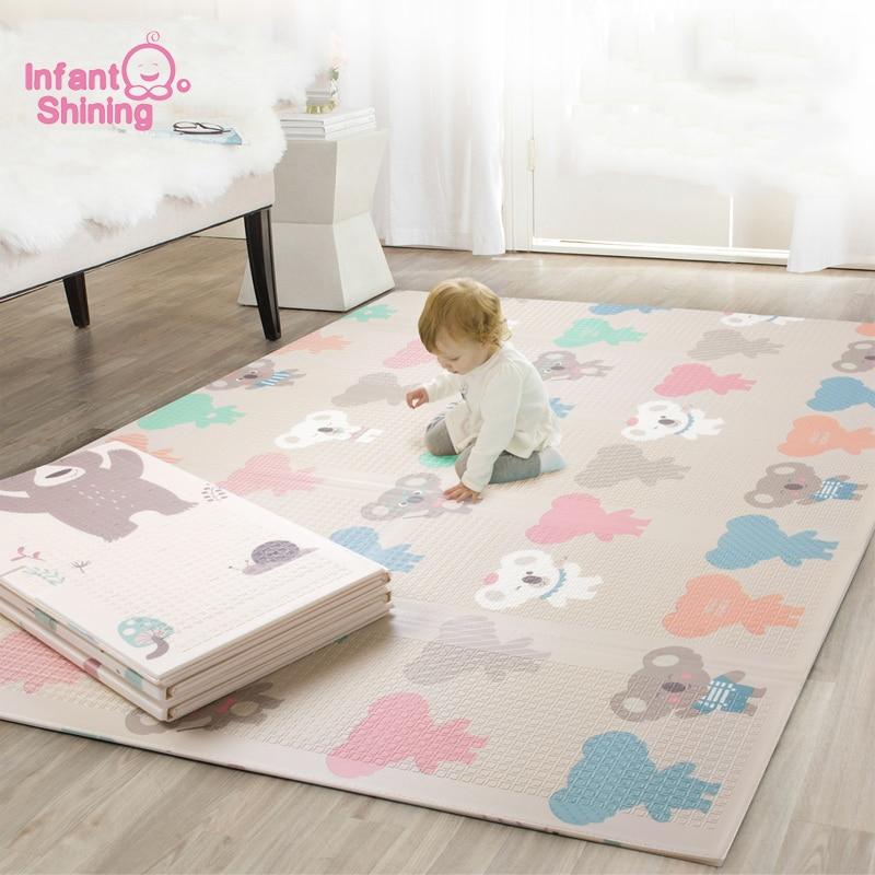 Tapis de jeu pour bébé pliable brillant épaissi Tapete Infantil maison bébé chambre Puzzle tapis XPE 150X200 CM épissage 1 CM épaisseur