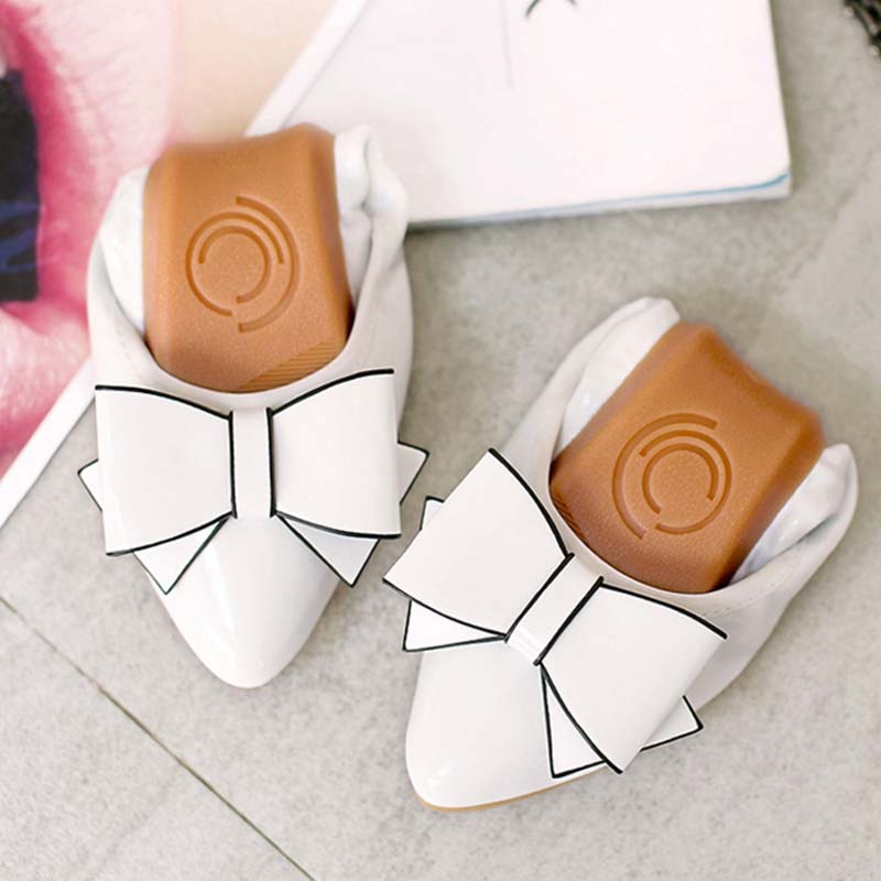 Fashion sweet bow pointed toe women flat shoes ballet flats for ladies bowtie egg rolls shoes comfortable slip-on loafers female summer slip ons 45 46 9 women shoes for dancing pointed toe flats ballet ladies loafers soft sole low top gold silver black pink